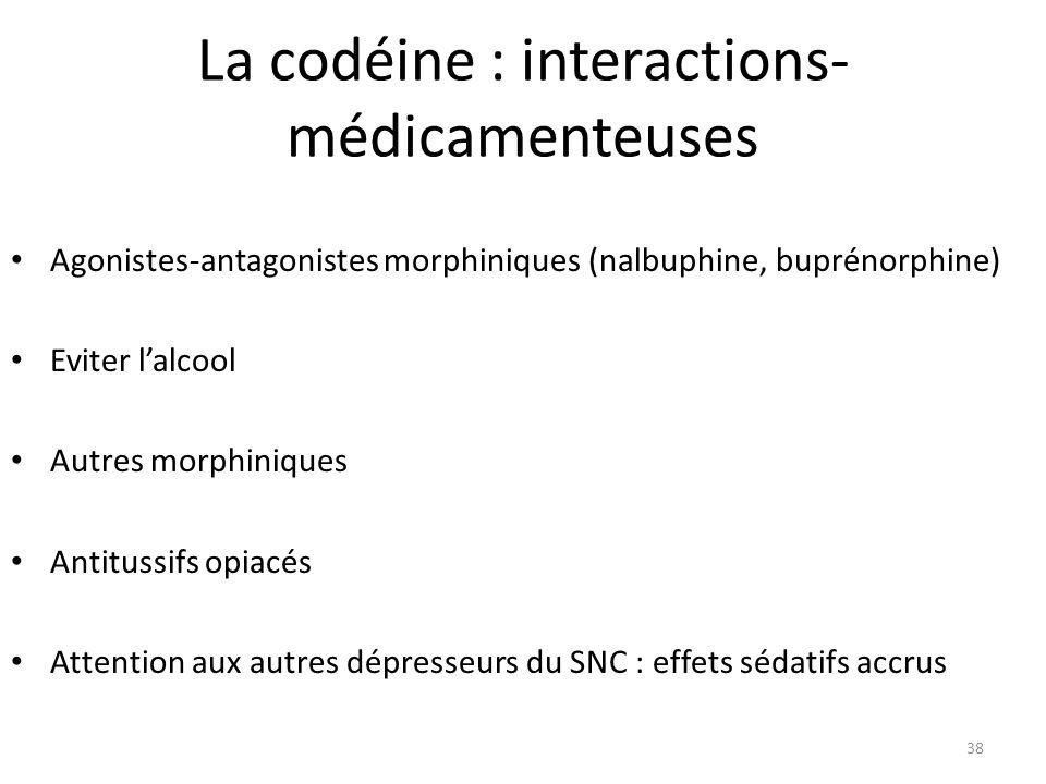 La codéine : interactions- médicamenteuses Agonistes-antagonistes morphiniques (nalbuphine, buprénorphine) Eviter lalcool Autres morphiniques Antituss