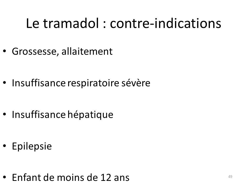 Le tramadol : contre-indications Grossesse, allaitement Insuffisance respiratoire sévère Insuffisance hépatique Epilepsie Enfant de moins de 12 ans 49