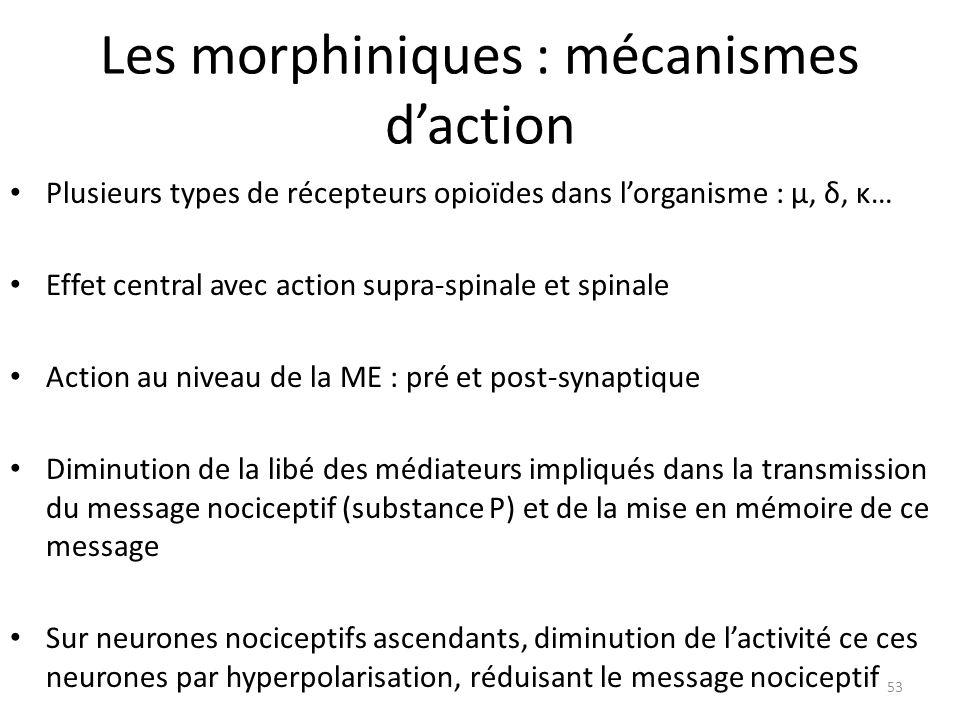 Les morphiniques : mécanismes daction Plusieurs types de récepteurs opioïdes dans lorganisme : μ, δ, κ… Effet central avec action supra-spinale et spi