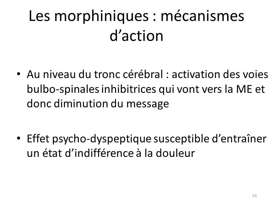 Les morphiniques : mécanismes daction Au niveau du tronc cérébral : activation des voies bulbo-spinales inhibitrices qui vont vers la ME et donc dimin