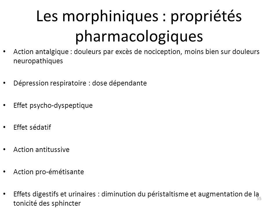 Les morphiniques : propriétés pharmacologiques Action antalgique : douleurs par excès de nociception, moins bien sur douleurs neuropathiques Dépressio
