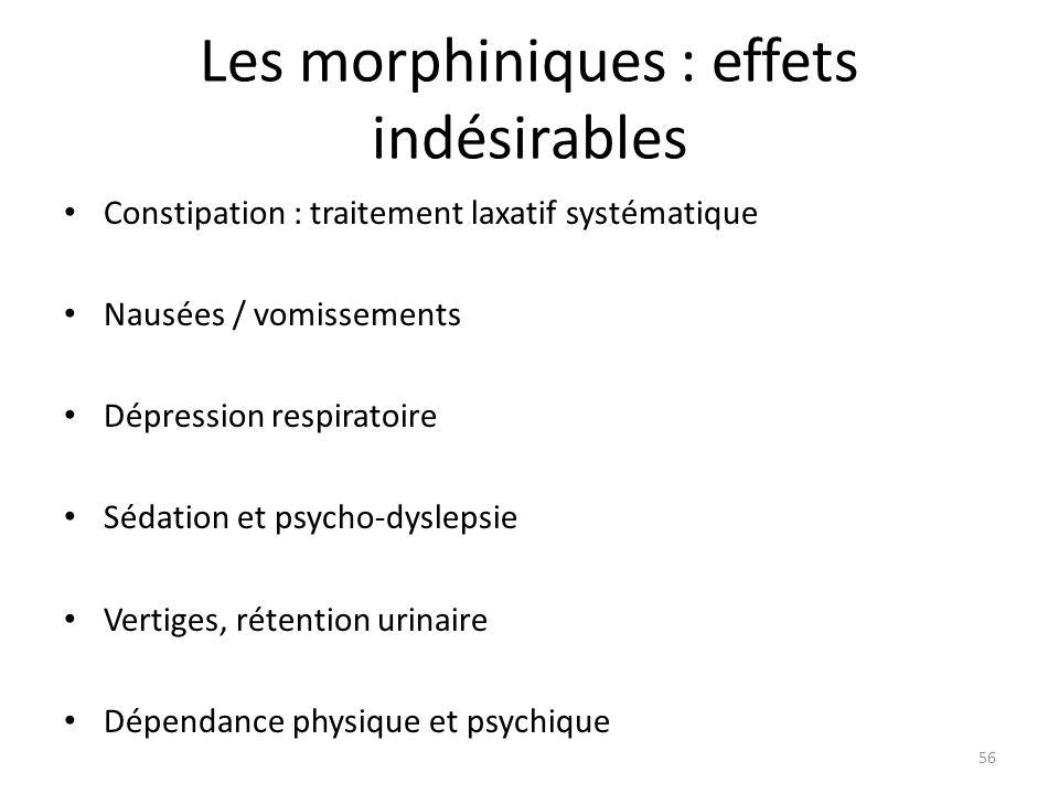 Les morphiniques : effets indésirables Constipation : traitement laxatif systématique Nausées / vomissements Dépression respiratoire Sédation et psych