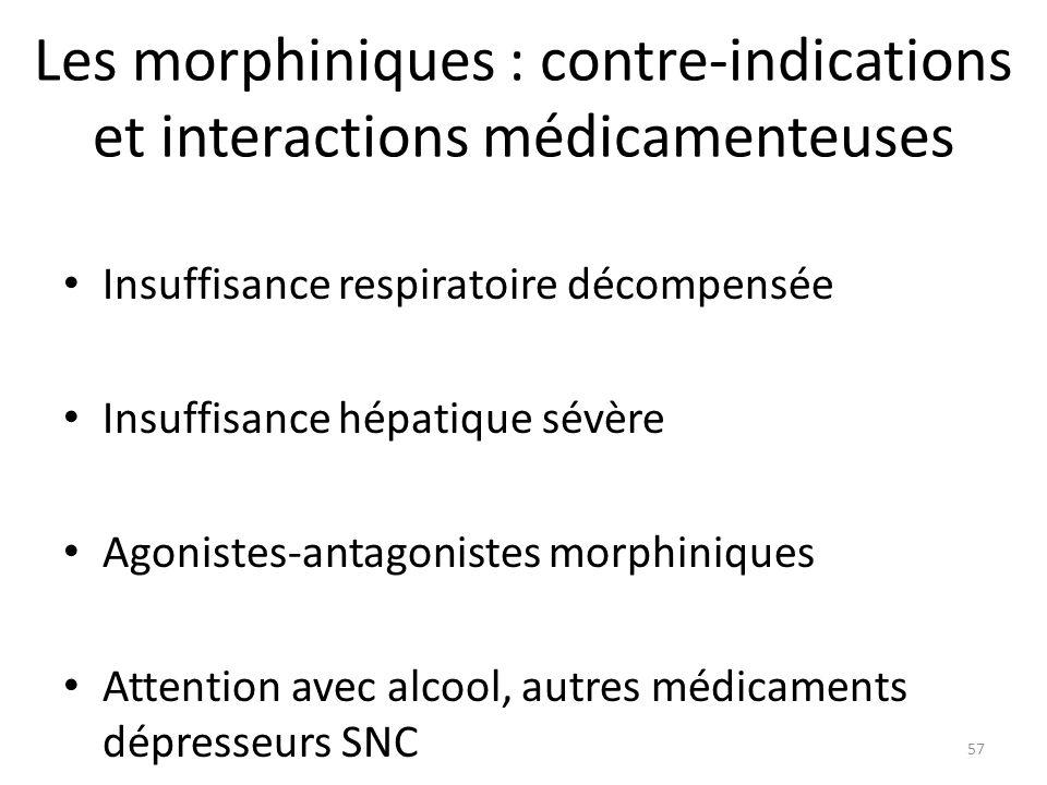 Les morphiniques : contre-indications et interactions médicamenteuses Insuffisance respiratoire décompensée Insuffisance hépatique sévère Agonistes-an