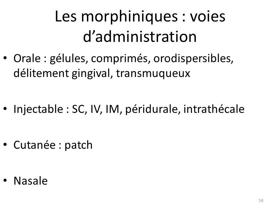 Les morphiniques : voies dadministration Orale : gélules, comprimés, orodispersibles, délitement gingival, transmuqueux Injectable : SC, IV, IM, périd