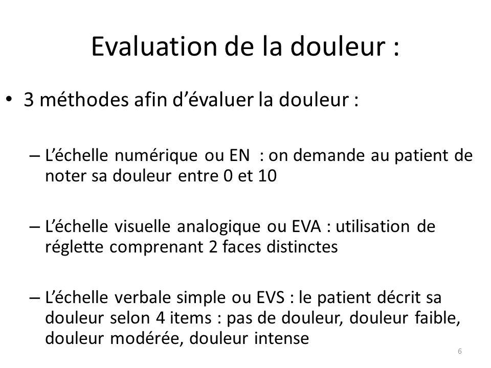 Evaluation de la douleur : 3 méthodes afin dévaluer la douleur : – Léchelle numérique ou EN : on demande au patient de noter sa douleur entre 0 et 10