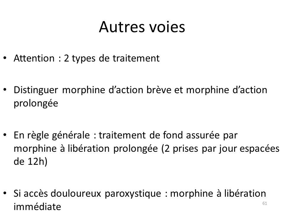 Autres voies Attention : 2 types de traitement Distinguer morphine daction brève et morphine daction prolongée En règle générale : traitement de fond