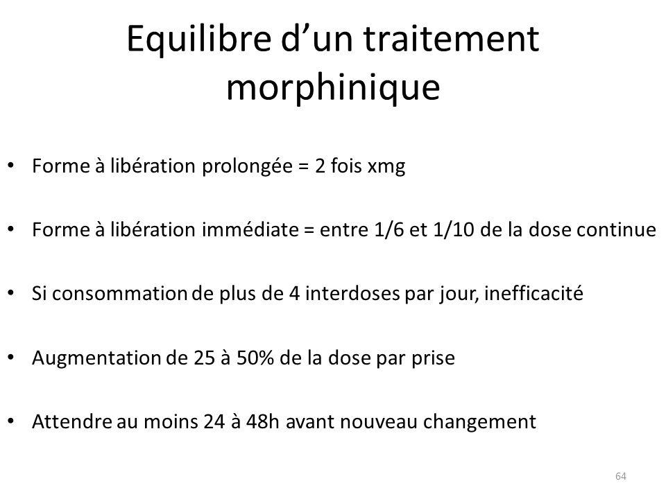 Equilibre dun traitement morphinique Forme à libération prolongée = 2 fois xmg Forme à libération immédiate = entre 1/6 et 1/10 de la dose continue Si