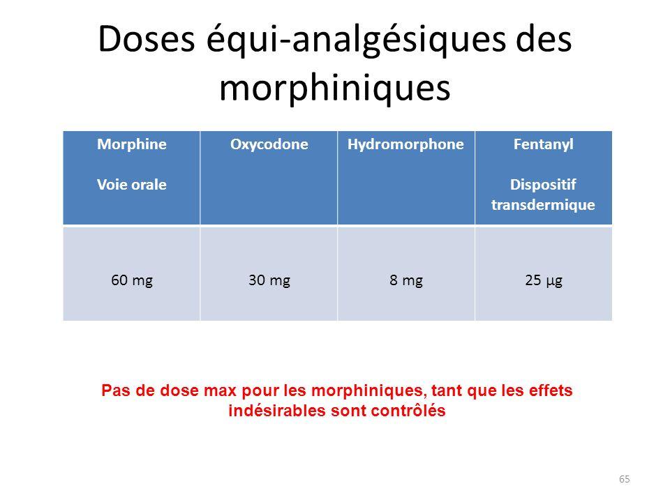 Doses équi-analgésiques des morphiniques Morphine Voie orale OxycodoneHydromorphoneFentanyl Dispositif transdermique 60 mg30 mg8 mg25 µg Pas de dose m
