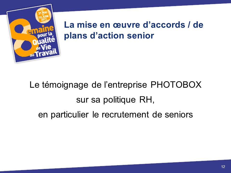 La mise en œuvre daccords / de plans daction senior Le témoignage de lentreprise PHOTOBOX sur sa politique RH, en particulier le recrutement de seniors 12