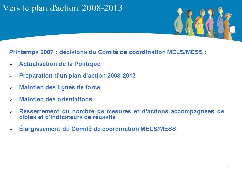 Vers le plan d'action 2008-2013 Printemps 2007 : décisions du Comité de coordination MELS/MESS : Actualisation de la Politique Préparation d'un plan d