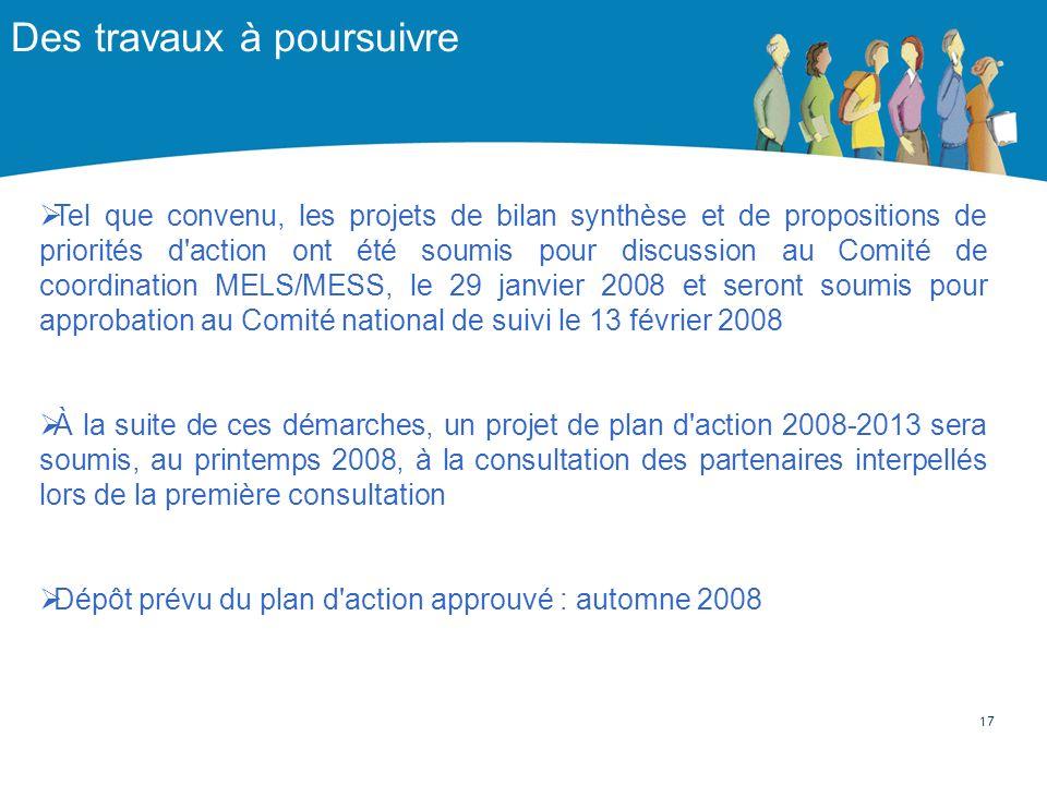 Des travaux à poursuivre Tel que convenu, les projets de bilan synthèse et de propositions de priorités d'action ont été soumis pour discussion au Com