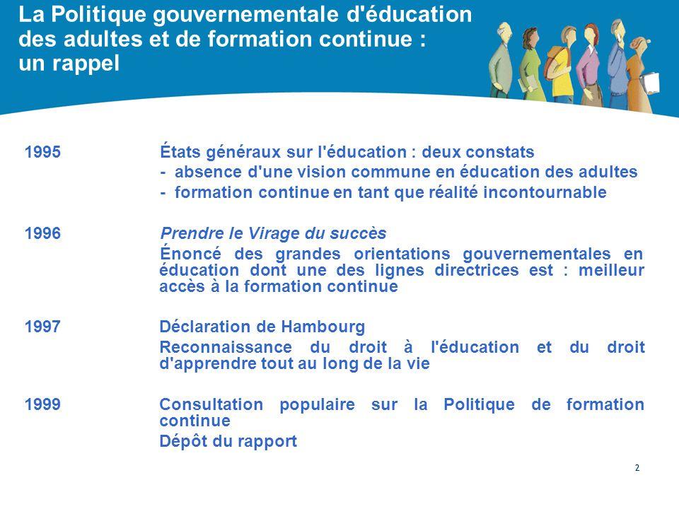 La Politique gouvernementale d'éducation des adultes et de formation continue : un rappel 1995États généraux sur l'éducation : deux constats - absence