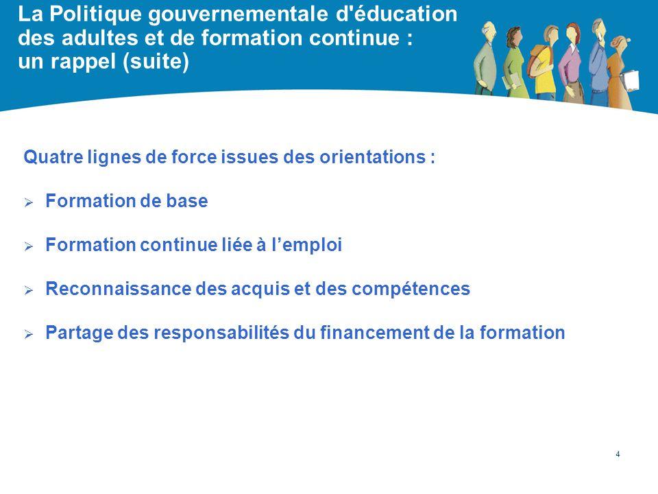 La Politique gouvernementale d'éducation des adultes et de formation continue : un rappel (suite) Quatre lignes de force issues des orientations : For