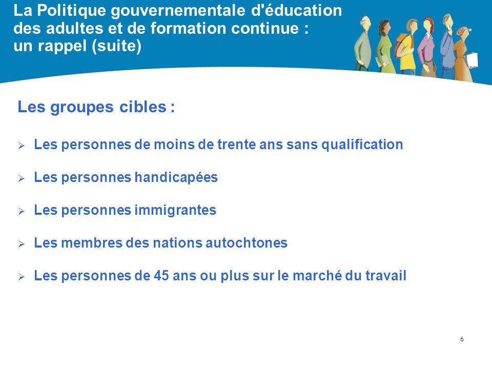 La Politique gouvernementale d'éducation des adultes et de formation continue : un rappel (suite) Les groupes cibles : Les personnes de moins de trent