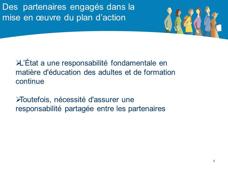 Des partenaires engagés dans la mise en œuvre du plan daction LÉtat a une responsabilité fondamentale en matière d'éducation des adultes et de formati