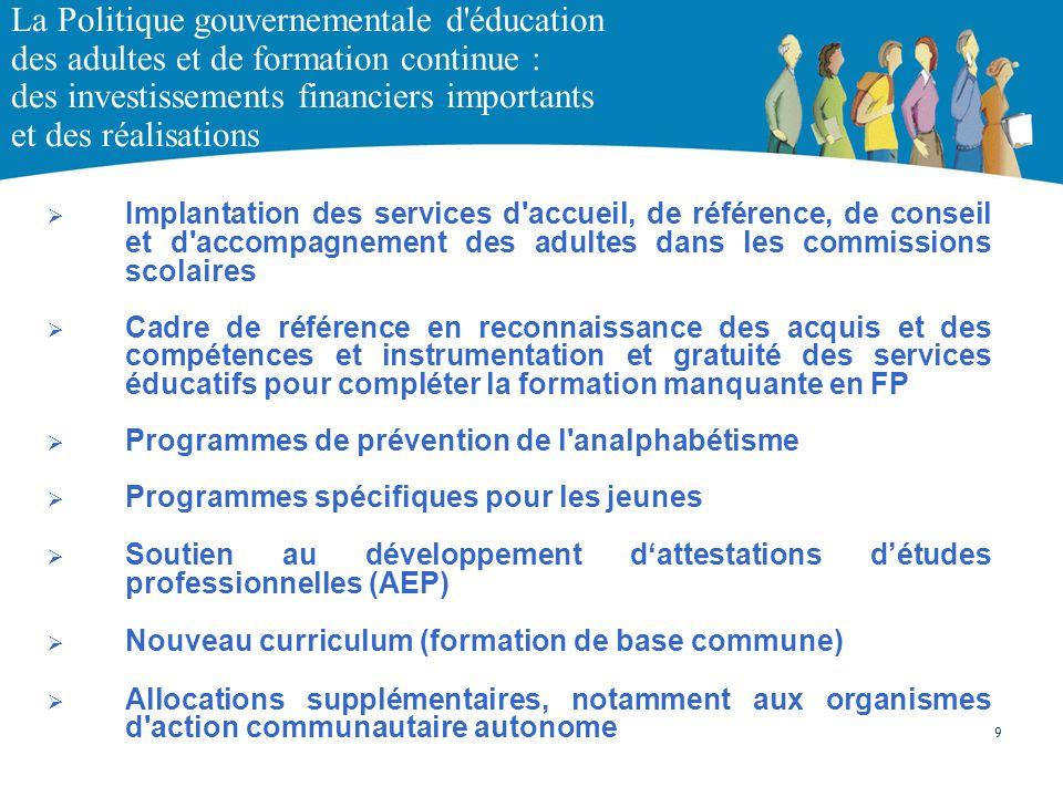 La Politique gouvernementale d'éducation des adultes et de formation continue : des investissements financiers importants et des réalisations Implanta