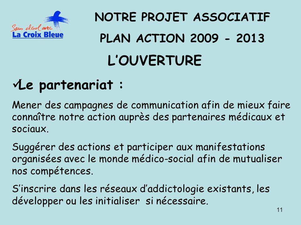 11 NOTRE PROJET ASSOCIATIF PLAN ACTION 2009 - 2013 LOUVERTURE Le partenariat : Mener des campagnes de communication afin de mieux faire connaître notre action auprès des partenaires médicaux et sociaux.
