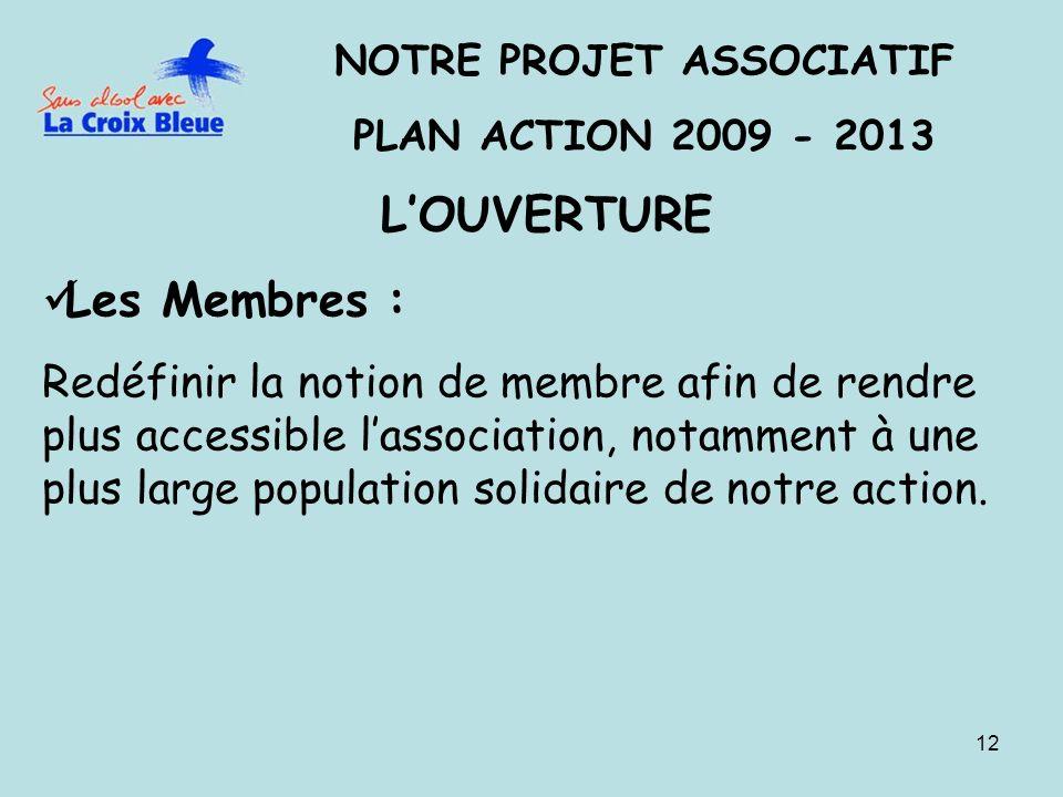 12 NOTRE PROJET ASSOCIATIF PLAN ACTION 2009 - 2013 LOUVERTURE Les Membres : Redéfinir la notion de membre afin de rendre plus accessible lassociation, notamment à une plus large population solidaire de notre action.