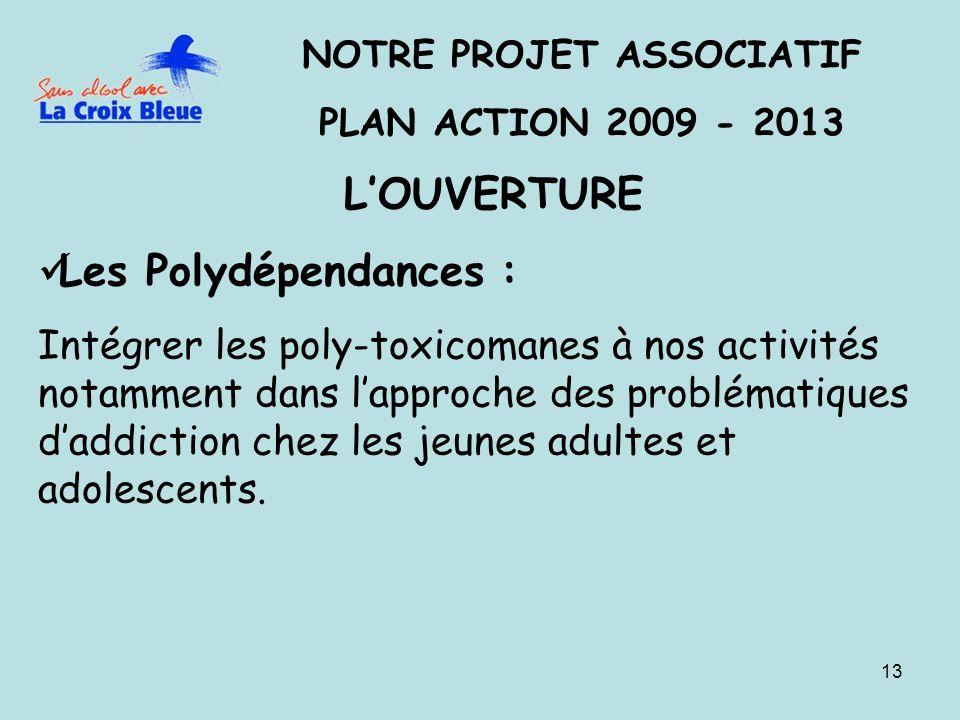 13 NOTRE PROJET ASSOCIATIF PLAN ACTION 2009 - 2013 LOUVERTURE Les Polydépendances : Intégrer les poly-toxicomanes à nos activités notamment dans lappr