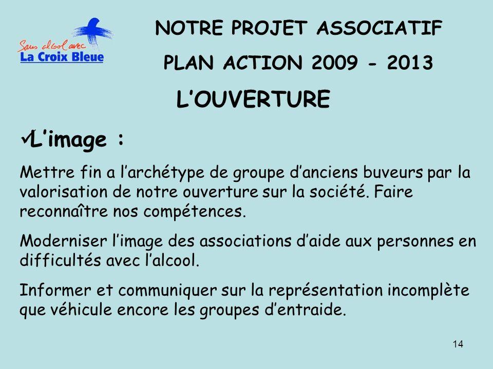 14 NOTRE PROJET ASSOCIATIF PLAN ACTION 2009 - 2013 LOUVERTURE Limage : Mettre fin a larchétype de groupe danciens buveurs par la valorisation de notre ouverture sur la société.