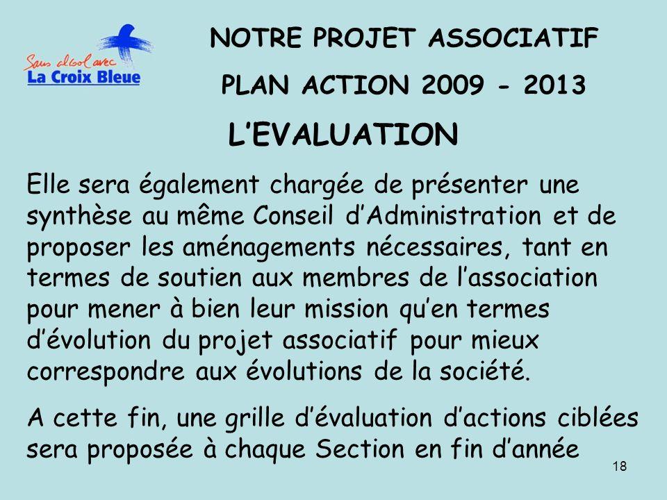 18 NOTRE PROJET ASSOCIATIF PLAN ACTION 2009 - 2013 LEVALUATION Elle sera également chargée de présenter une synthèse au même Conseil dAdministration e