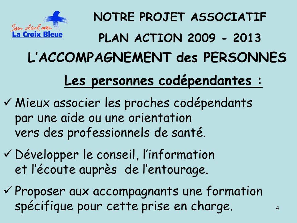 4 NOTRE PROJET ASSOCIATIF PLAN ACTION 2009 - 2013 LACCOMPAGNEMENT des PERSONNES Les personnes codépendantes : Mieux associer les proches codépendants