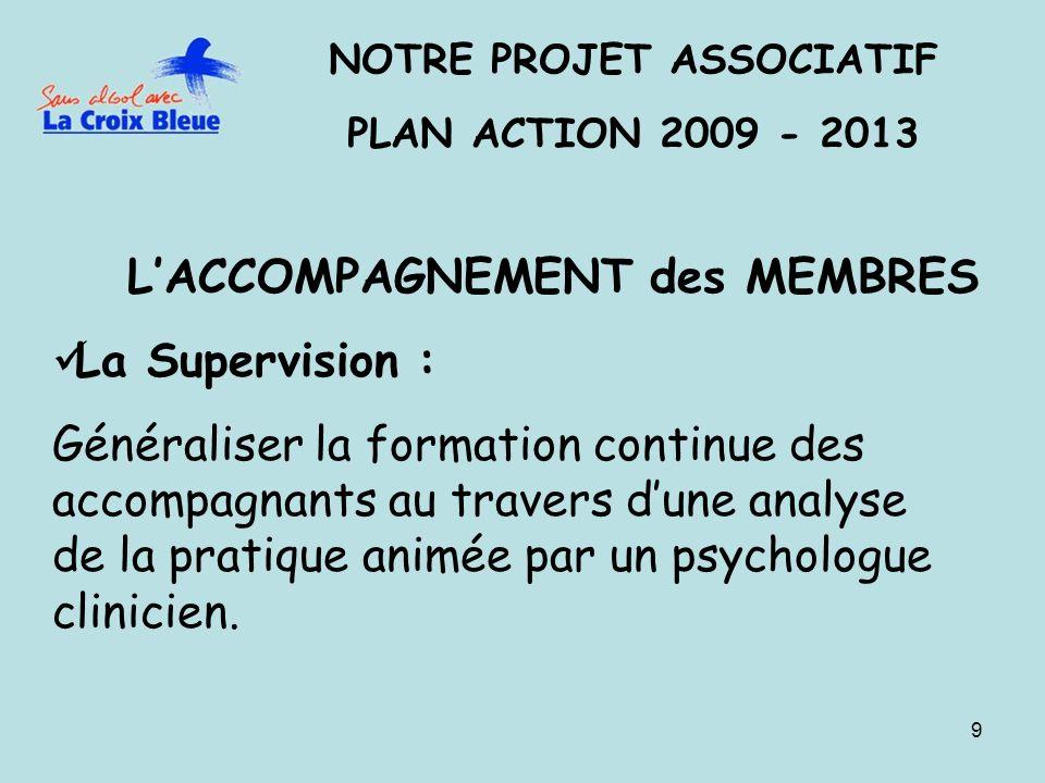 9 NOTRE PROJET ASSOCIATIF PLAN ACTION 2009 - 2013 LACCOMPAGNEMENT des MEMBRES La Supervision : Généraliser la formation continue des accompagnants au