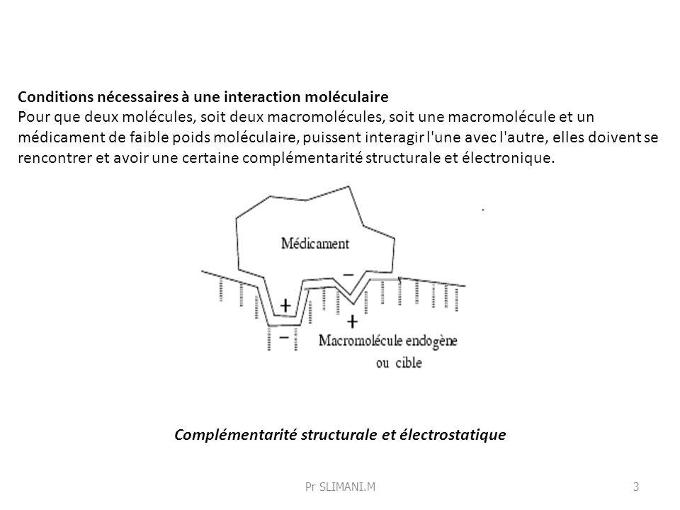 Conditions nécessaires à une interaction moléculaire Pour que deux molécules, soit deux macromolécules, soit une macromolécule et un médicament de fai
