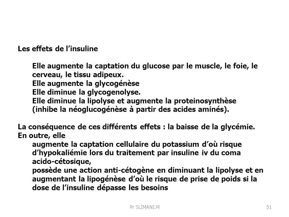 Les effets de linsuline Elle augmente la captation du glucose par le muscle, le foie, le cerveau, le tissu adipeux. Elle augmente la glycogénèse Elle