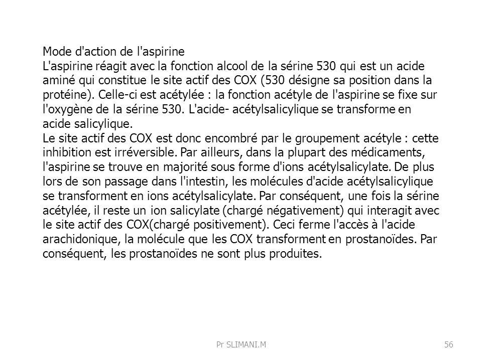 Mode d'action de l'aspirine L'aspirine réagit avec la fonction alcool de la sérine 530 qui est un acide aminé qui constitue le site actif des COX (530