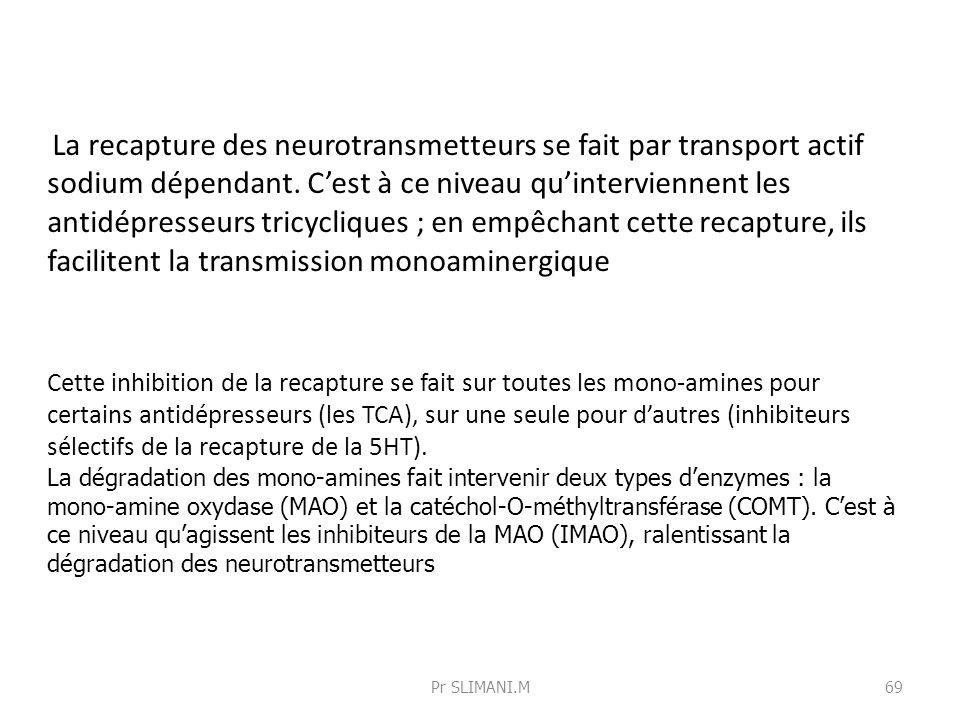Cette inhibition de la recapture se fait sur toutes les mono-amines pour certains antidépresseurs (les TCA), sur une seule pour dautres (inhibiteurs s