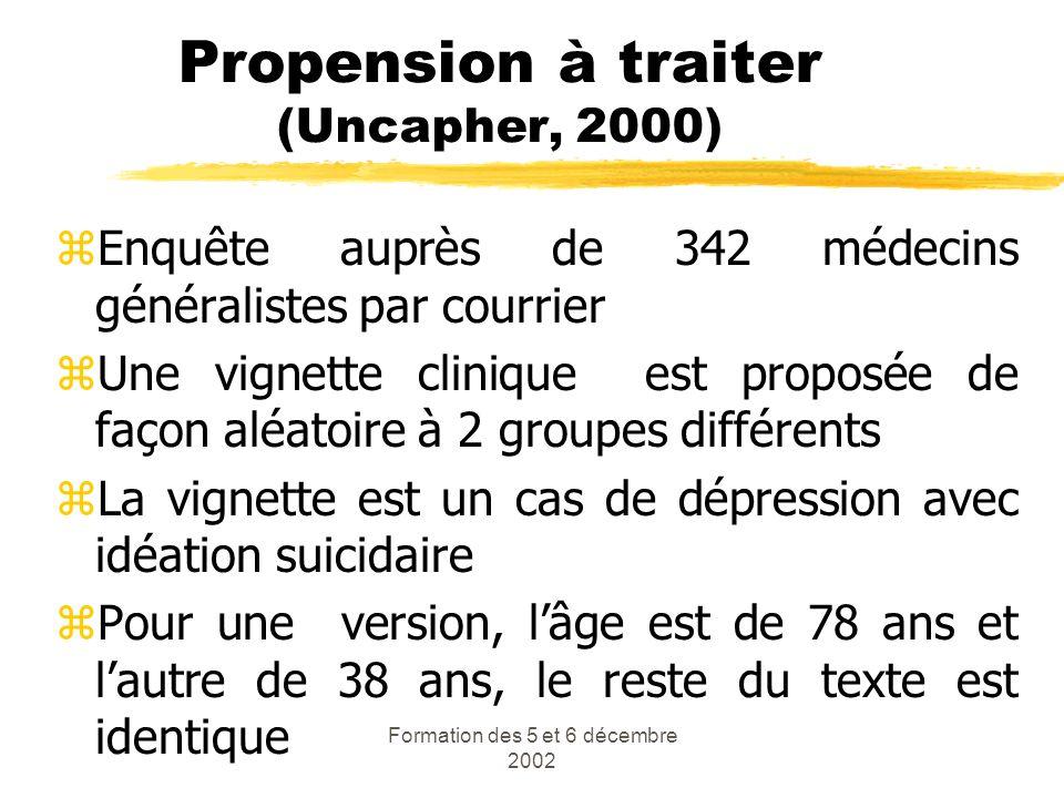 Formation des 5 et 6 décembre 2002 Propension à traiter (Uncapher, 2000) zEnquête auprès de 342 médecins généralistes par courrier zUne vignette clini
