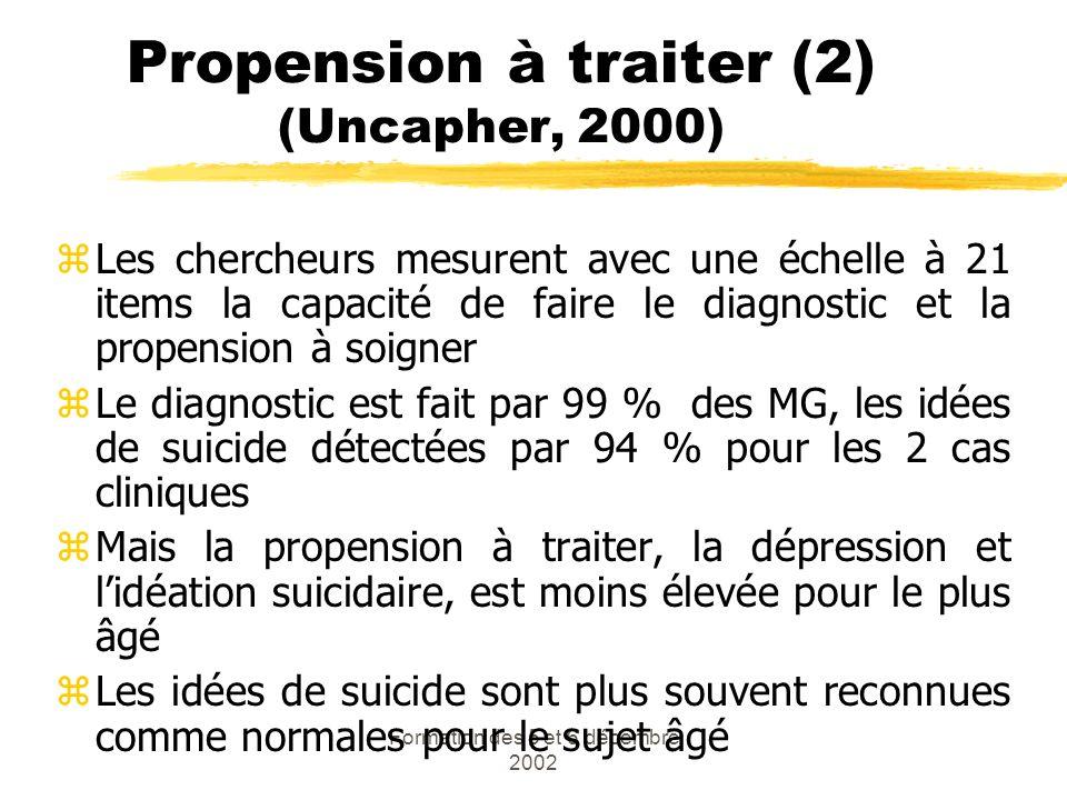 Formation des 5 et 6 décembre 2002 Propension à traiter (2) (Uncapher, 2000) zLes chercheurs mesurent avec une échelle à 21 items la capacité de faire