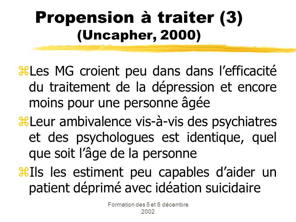 Formation des 5 et 6 décembre 2002 Propension à traiter (3) (Uncapher, 2000) zLes MG croient peu dans dans lefficacité du traitement de la dépression