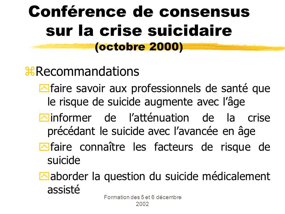 Formation des 5 et 6 décembre 2002 Conférence de consensus sur la crise suicidaire (octobre 2000) zRecommandations yfaire savoir aux professionnels de