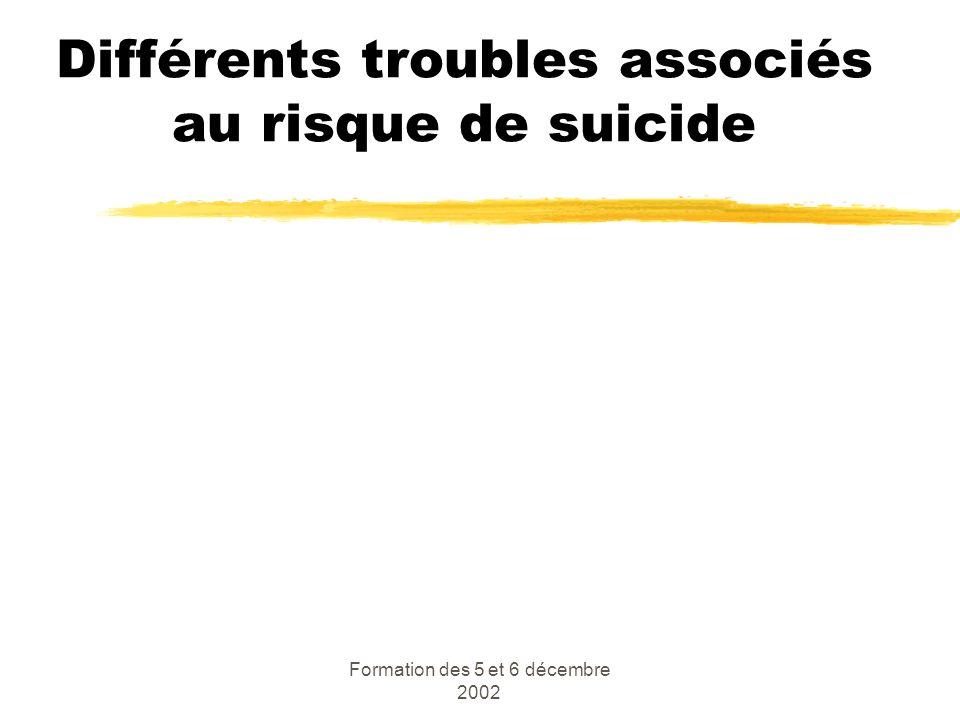 Formation des 5 et 6 décembre 2002 Différents troubles associés au risque de suicide