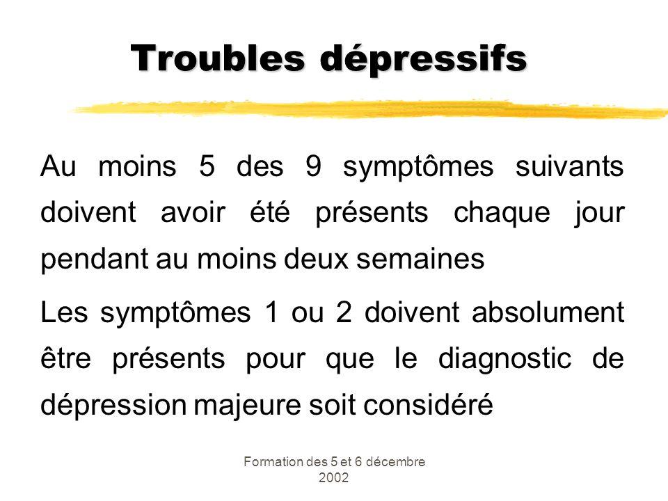 Formation des 5 et 6 décembre 2002 Troubles dépressifs Au moins 5 des 9 symptômes suivants doivent avoir été présents chaque jour pendant au moins deu