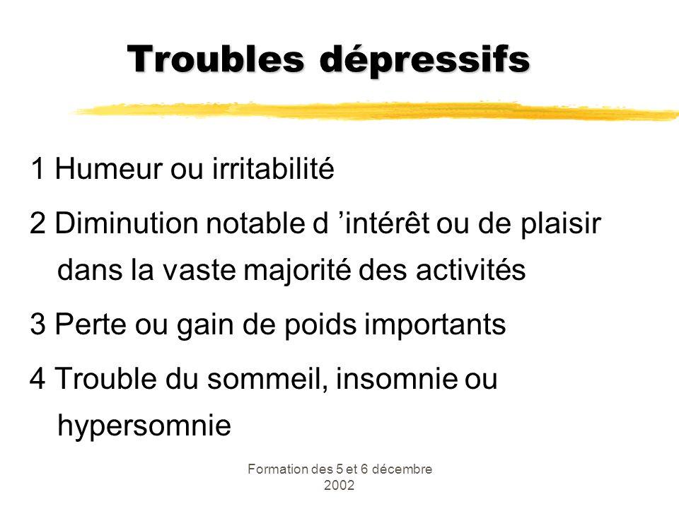 Formation des 5 et 6 décembre 2002 Troubles dépressifs 1 Humeur ou irritabilité 2 Diminution notable d intérêt ou de plaisir dans la vaste majorité de