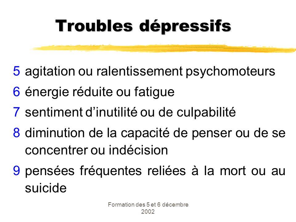 Formation des 5 et 6 décembre 2002 Troubles dépressifs 5agitation ou ralentissement psychomoteurs 6énergie réduite ou fatigue 7sentiment dinutilité ou