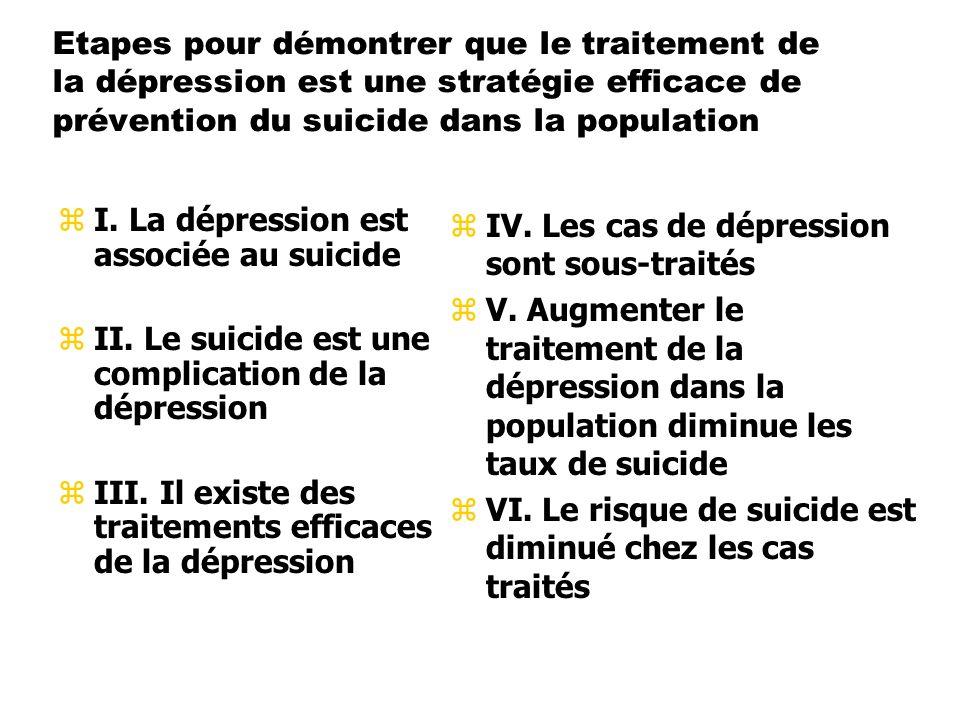 Etapes pour démontrer que le traitement de la dépression est une stratégie efficace de prévention du suicide dans la population zI. La dépression est