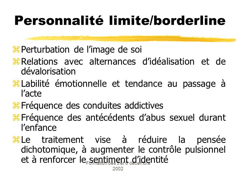 Formation des 5 et 6 décembre 2002 Personnalité limite/borderline zPerturbation de limage de soi zRelations avec alternances didéalisation et de déval