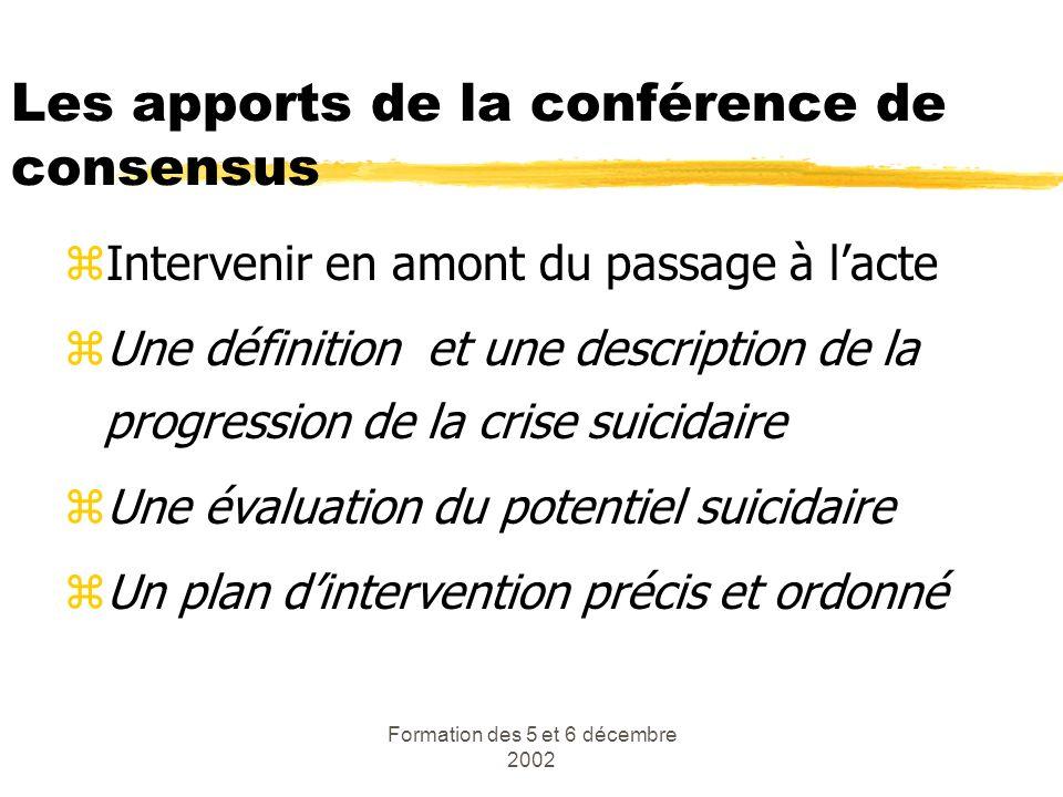 Formation des 5 et 6 décembre 2002 Les apports de la conférence de consensus zIntervenir en amont du passage à lacte zUne définition et une descriptio