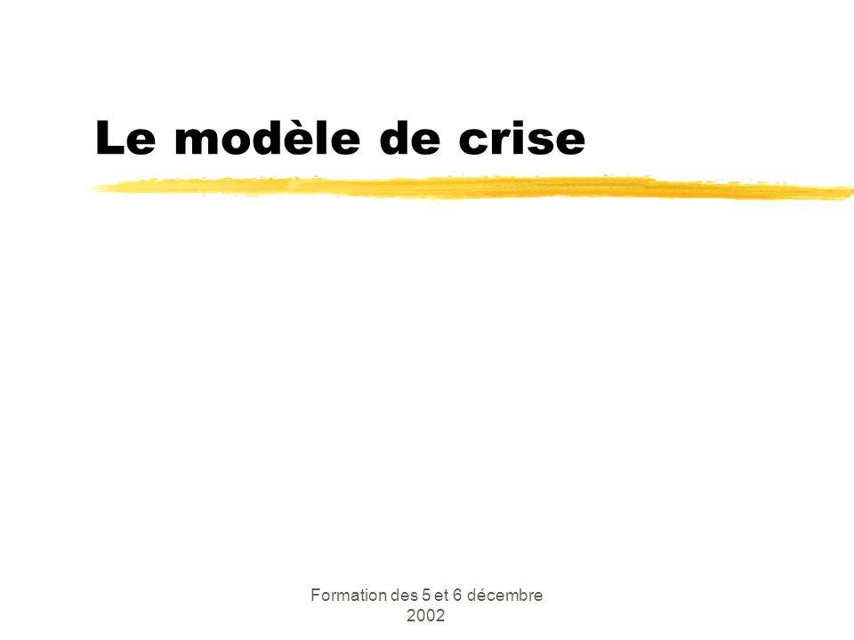 Formation des 5 et 6 décembre 2002 Le modèle de crise