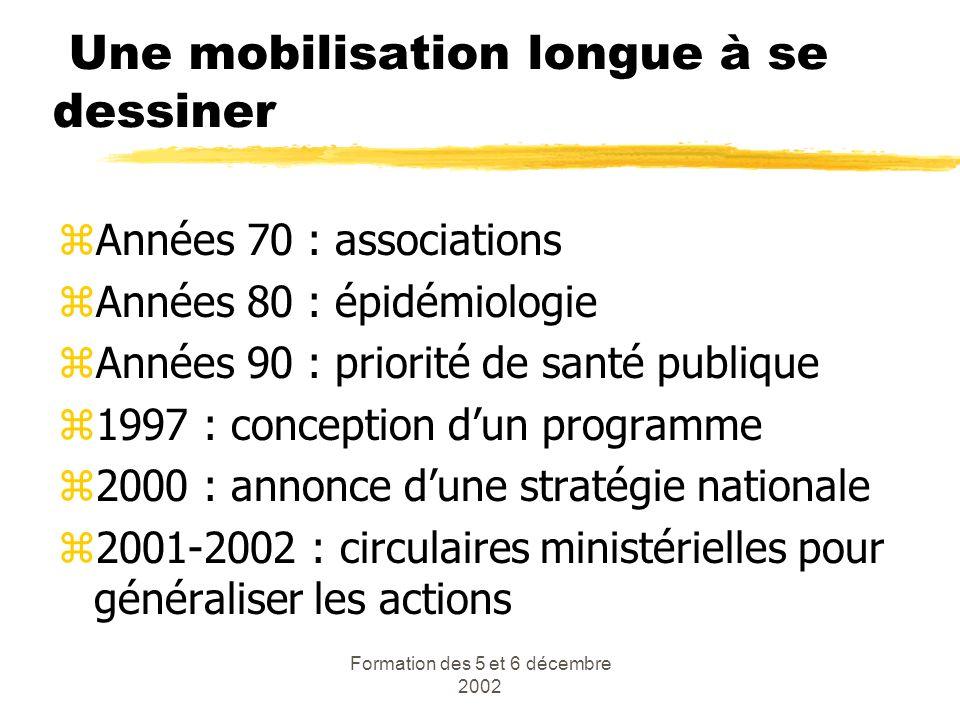 Formation des 5 et 6 décembre 2002 Une mobilisation longue à se dessiner zAnnées 70 : associations zAnnées 80 : épidémiologie zAnnées 90 : priorité de