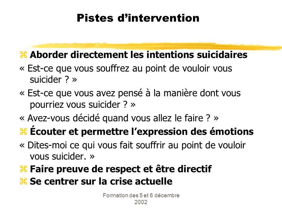 Formation des 5 et 6 décembre 2002 Pistes dintervention zAborder directement les intentions suicidaires « Est-ce que vous souffrez au point de vouloir
