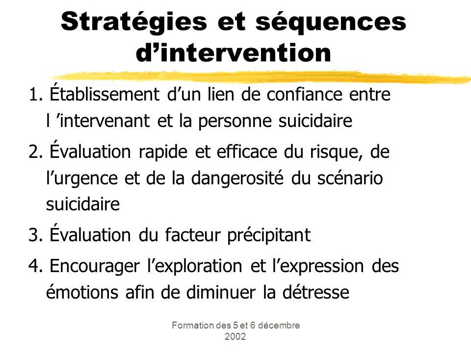 Formation des 5 et 6 décembre 2002 Stratégies et séquences dintervention 1. Établissement dun lien de confiance entre l intervenant et la personne sui