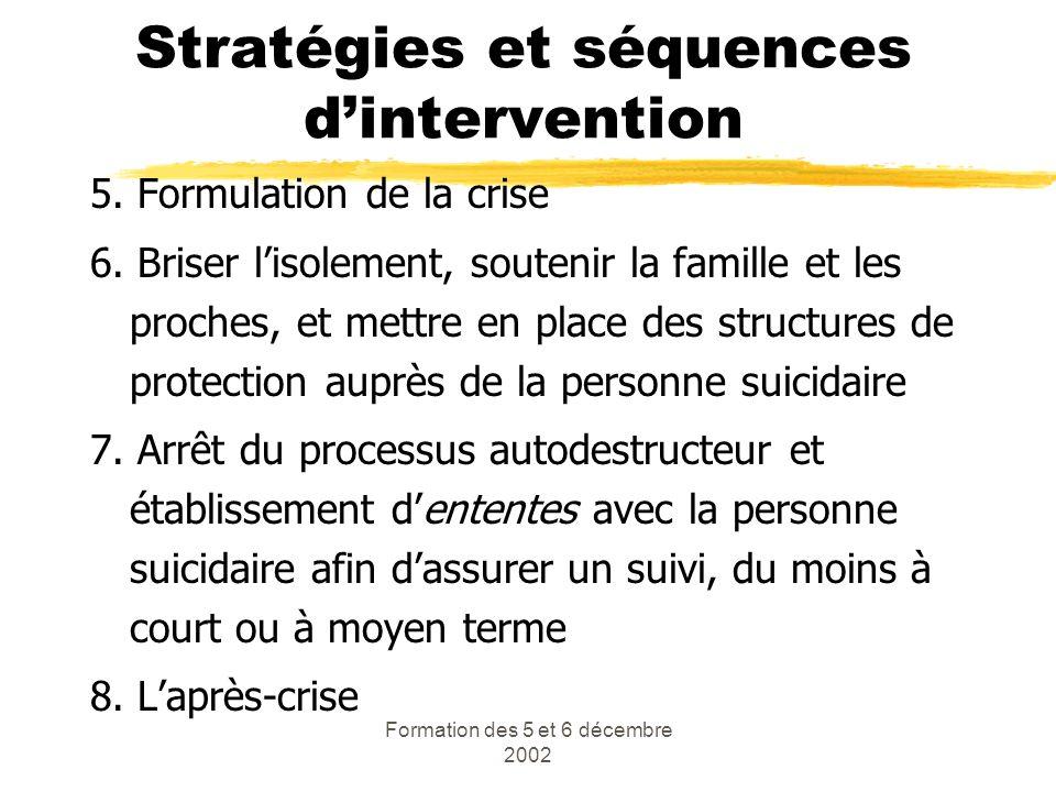 Formation des 5 et 6 décembre 2002 Stratégies et séquences dintervention 5. Formulation de la crise 6. Briser lisolement, soutenir la famille et les p