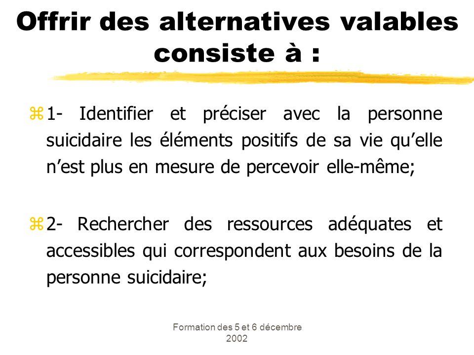 Formation des 5 et 6 décembre 2002 Offrir des alternatives valables consiste à : z1- Identifier et préciser avec la personne suicidaire les éléments p