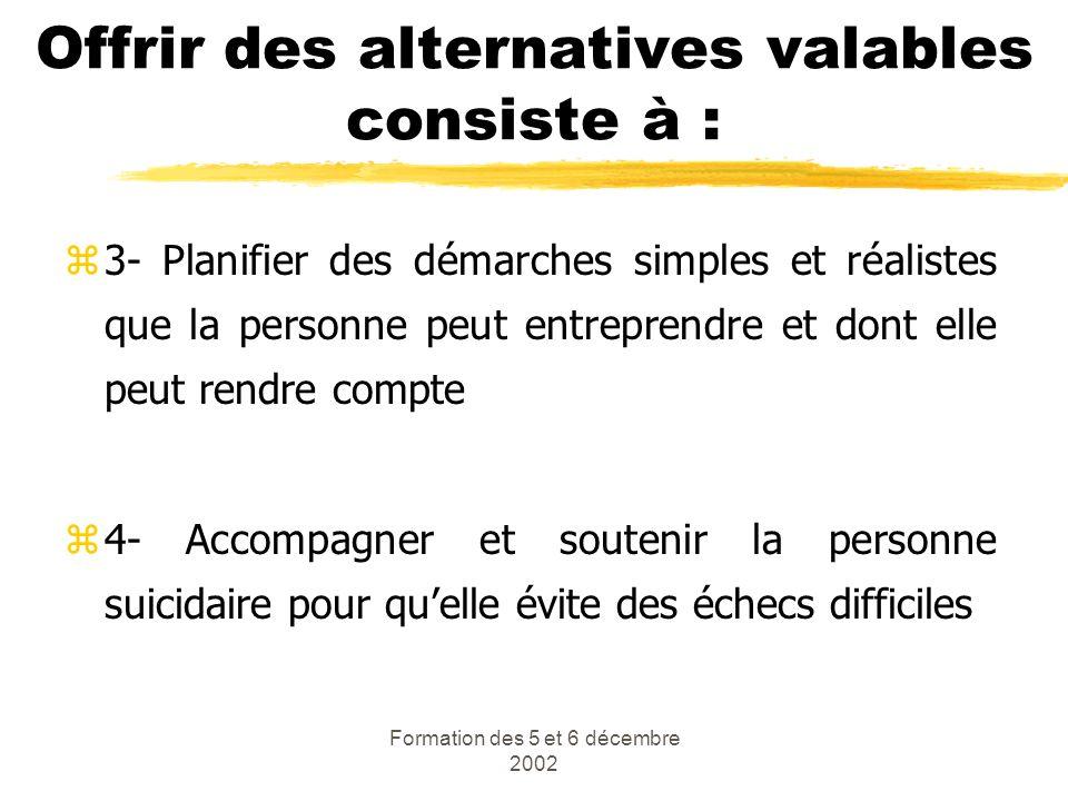 Formation des 5 et 6 décembre 2002 Offrir des alternatives valables consiste à : z3- Planifier des démarches simples et réalistes que la personne peut
