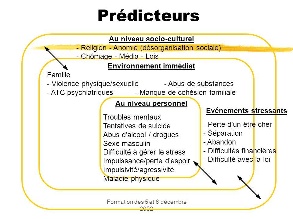 Formation des 5 et 6 décembre 2002 Prédicteurs Au niveau socio-culturel - Religion - Anomie (désorganisation sociale) - Chômage - Média - Lois Environ